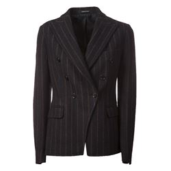 pinstriped double breasted blazer