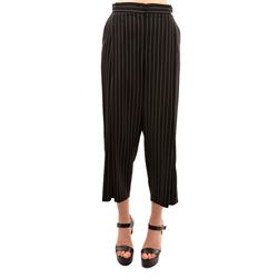 black cropped pinstriped pants