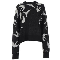 black swallow printed sweater