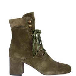 new style def3d 77be7 Miu Miu: Green Ankle boots