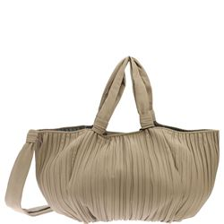 biege leather handbag