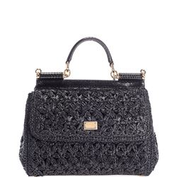 black in crochet sicily bag