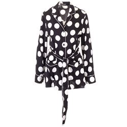 black silk jacket with white polka dots