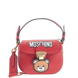 red leather logoed bag