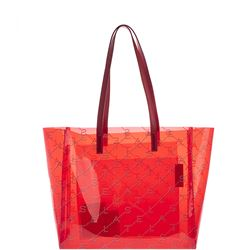 red monogram tote bag