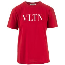 t-shirt rossa con stampa logo