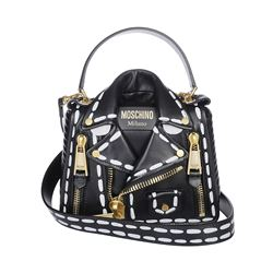 biker bag nera in nappa stampa stitching