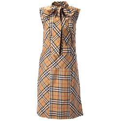beige checked dress