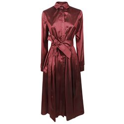 maroon belted dress