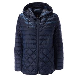 blue quilted down filled coat