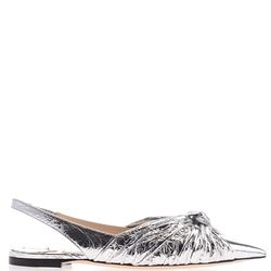 silver leather slingback