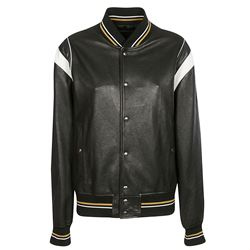 black leather bomber with 4g logo on the back