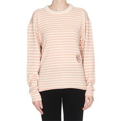 beige and pink striped sweater