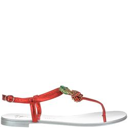cherry flat sandals in red laminated leather