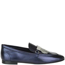 blue leather jodie  loafers with crystals