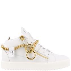 white sneakers with chain