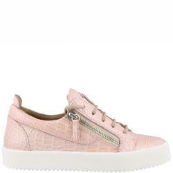 pink leather sneakers