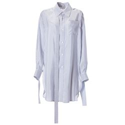 white and light blue striped silk shirt