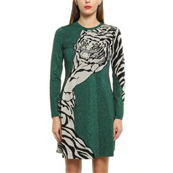 green tiger embroidered dress