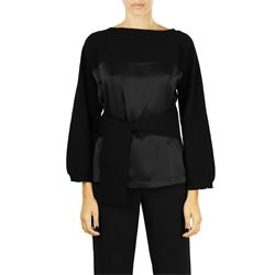 blac wool and silk belted blouse
