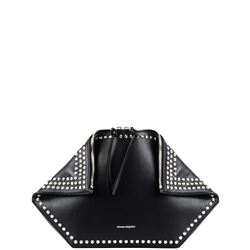 black studded leather butterfly clutch