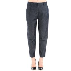 cotton and silk blue trousers