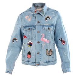 denim short jacket with patches