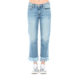 denim cropped jeans with fringes