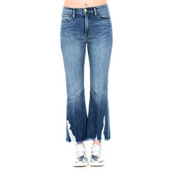 jeans cropped denim con frange