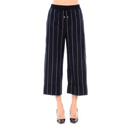 pantaloni cropped blu a righe