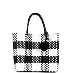 black and white woven handbag