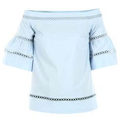clear blue embroidered top