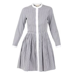 white and blue striped shirt dress