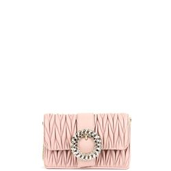 pink matelassè nappa leather clutch with crystal buckle