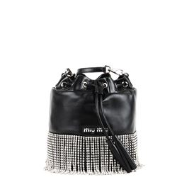 black nappa leather bucket bag with crystal fringes