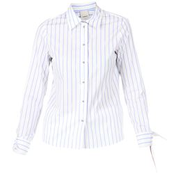 clear blue stripes white shirt