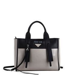 grey and black leather handbag