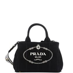 black fabric logoed bag