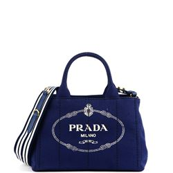 blue fabric logoed bag