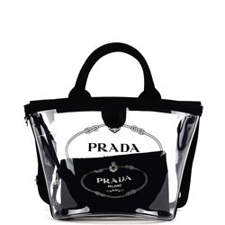 black canvas and plexiglass handbag