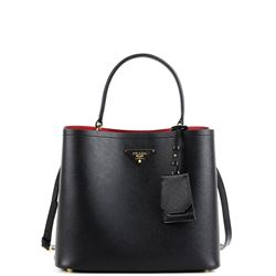 black saffiano leather double handbag