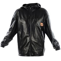 black leather logoed jacket