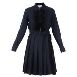blue cotton frilled dress with belt