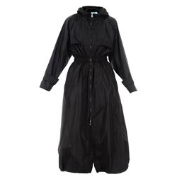 black hooded rain coat with zip