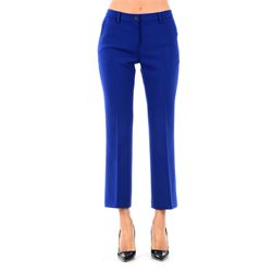 pantaloni cropped blu in lana vergine