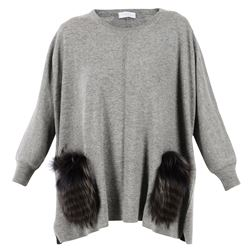 fur detail grey oversize sweater