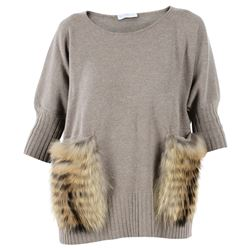 fur detail beige sweater