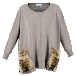 fur detail beige oversize sweater