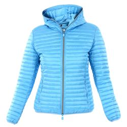 light blue hooded down filled coat with zip