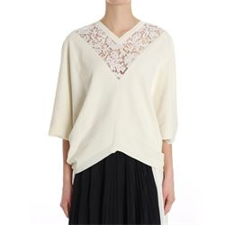 viscose cream sweater with lace inserts